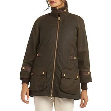 Barbour Norwood Waxed Cotton Faux Fur Lined Coat