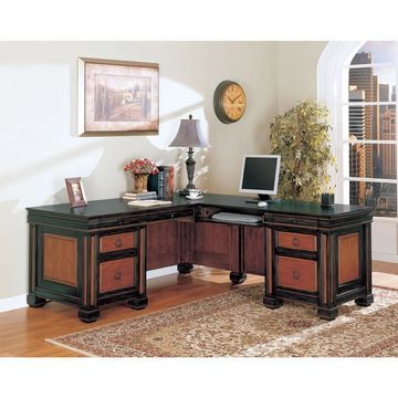 Coaster Company Black/ Cherry L-shaped Desk