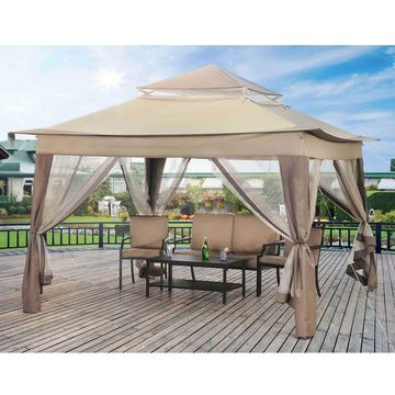 Sunjoy Peter Portable 10' x 10' Gazebo with Mosquito Netting, Outdoor Pop-Up Gazebo Canopy Tent w/ Carry Bag, Beige