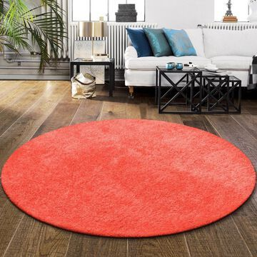 Superior Elegant, Plush, Hand-Woven Spiced Coral Shag Round Rug - 6'6