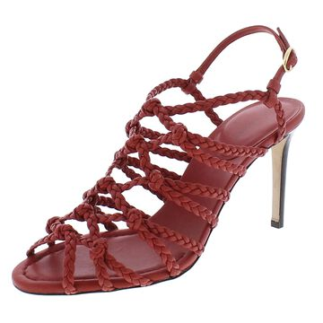 Paul Andrew Womens Whos That Strappy Sandals Leather Almond Toe - Brick