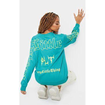 PrettyLittleThingGreen Gothic Back Printed Sweatshirt