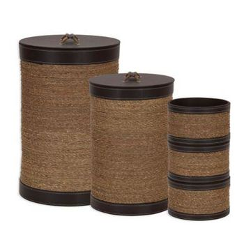 Household Essentials Seagrass and Faux Leather 5-Pc. Hamper and Basket Set