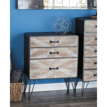 Modern 3-Drawer Chevron-Patterned Wood and Metal Cabinet by Studio 350