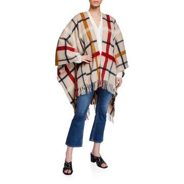 Checked Wool Poncho