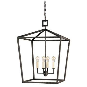 Currey and Company 9871 Denison 5 Light Chandelier In Lantern - Black