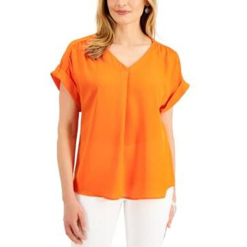 Jm Collection Short Sleeve V-neck Top, Created for Macy's