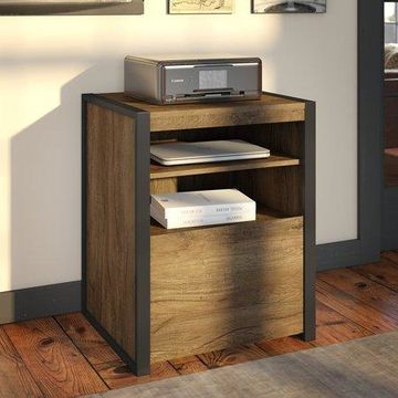 Bush Furniture Latitude Printer Stand File Cabinet in Rustic Brown Embossed