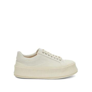 Jil Sander - Ribbed-sole Canvas Trainers - Womens - White