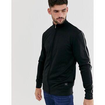 Only & Sons neon zip through sweat jacket in black