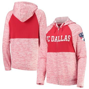 5th & Ocean by New Era FC Dallas Women's Red Novelty Space Dye Full-Zip Hoodie