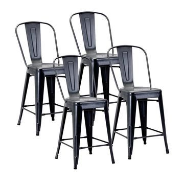 Porthos Home Xan Stackable Metal Counter Stools Set Of 4, Electroplated Metal
