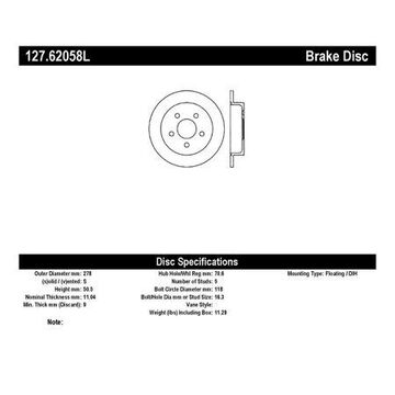 StopTech 127.62058L StopTech Sport Rotors; Drilled And Slotted; Rear Left;10.94 in. Dia.; 2.02 in. Height;