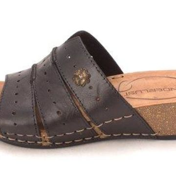 Wanderlust Womens T16074 Leather Open Toe Casual Slide Sandals, Black, Size 5.0
