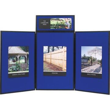 Quartet Show-It! 3-Panel Display System, 6' x 3', Double-sided, Blue/Gray