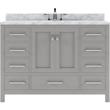 Virtu USA Caroline Avenue 48-in Cashmere Gray Undermount Single Sink Bathroom Vanity with Italian Carrara White Marble Top