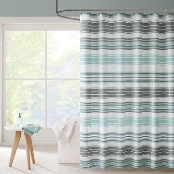 Intelligent Design Sonia Puckering Stripe Shower Curtain