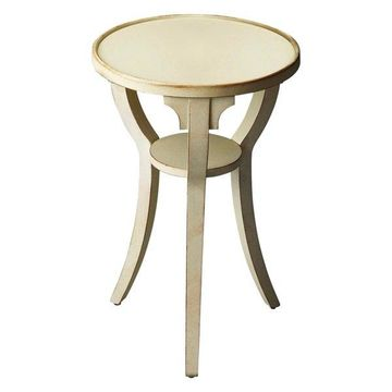 Butler Transitional Round Accent Table, White