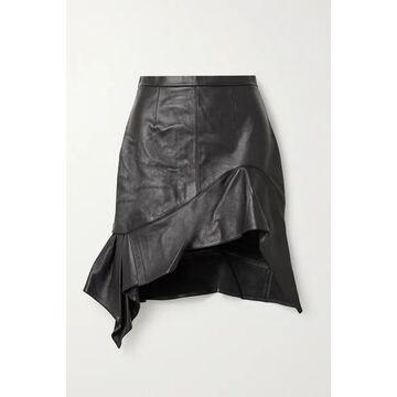 Alexander Wang - Asymmetric Ruffled Leather Mini Skirt - Black
