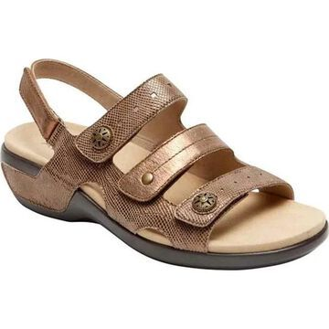 Aravon Women's PC Three Strap Slingback Sandal Metallic Taupe Leather