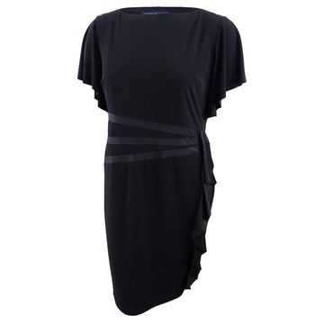 American Living Women's Satin-Trim Ruffled Dress (12, Black) - Black - 12