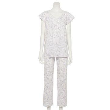 Women's Croft & Barrow 2-Piece Top & Bottoms Pajama Set, Size: Small, White