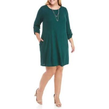 Agb Women's Plus Size A Line Dress With Necklace - -