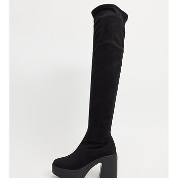 Truffle Collection wide fit chunky over the knee boots in black