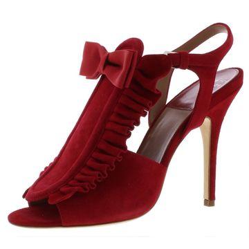 Laurence Dacade Womens Pika Suede Ruffled Heel Sandals