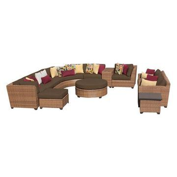 TK Classics Laguna 12-Piece Outdoor Wicker Sofa Set, Cocoa