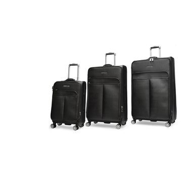 Adrienne Vittadini Stingray Black 3 piece Spinner Upright Luggage Set - 3 piece set