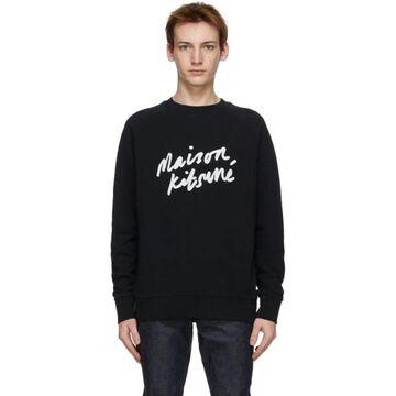 Maison Kitsune Black Handwriting Sweatshirt