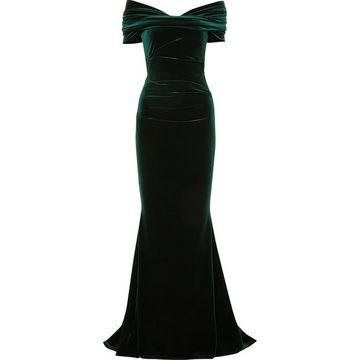 Talbot Runhof - Bobonne Off-the-shoulder Ruched Stretch-velvet Gown - Dark green
