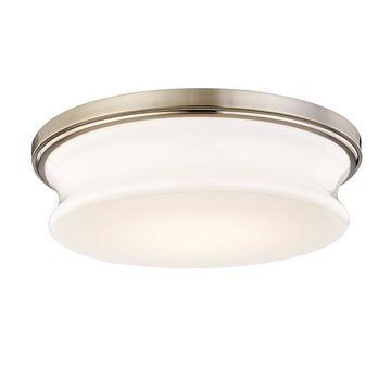allen + roth Drift 13-in Satin Nickel Transitional LED Flush Mount Light
