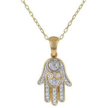 14k Yellow Gold 1/4ct. TDW Diamond Hamsa Necklace by Beverly Hills Charm