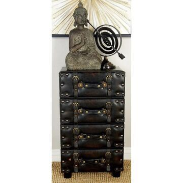 Traditional 28 Inch 4-Drawer Luggage Side Chest by Studio 350 - Black (WOOD LEATHER SIDE CHEST)