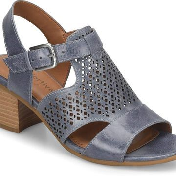 Comfortiva Womens Amber Leather Open Toe Casual Slingback