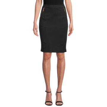 Kasper Ponte-Knit Zip-Pocket Skirt