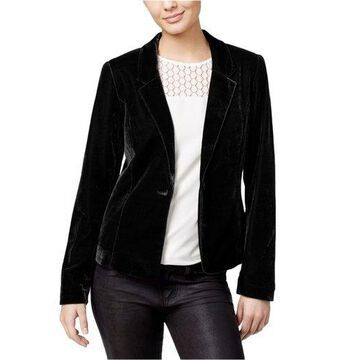 Kensie Womens Velvet One Button Blazer Jacket