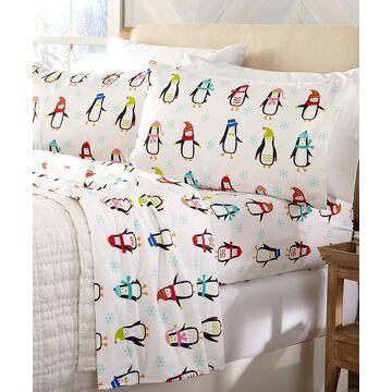 Home Fashion Designs Sheet Sets Penguins - White & Bright Penguins Cotton Flannel Sheet Set