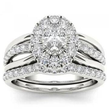 De Couer 14k White Gold 1ct TDW Oval Shape Diamond Halo Bridal Set