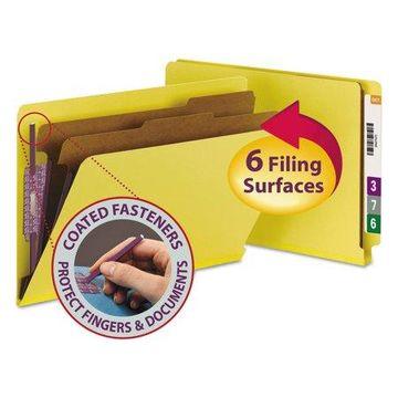Smead Pressboard End Tab Classification Folders, Legal, Six-Section, Yellow, 10/Box -SMD29789