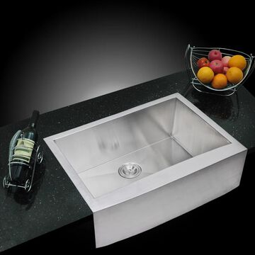 Water Creation 30-inch X 22-inch Zero Radius Single Bowl Stainless Steel Hand Made Apron Front Kitchen Sink