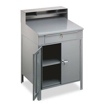 TENNSCO Steel Cabinet Shop Desk 36w x 30d x 53-3/4h Medium Gray SR58MG