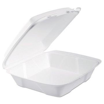 Dart Foam Hinged Lid Containers, 9.375 x 9.375 x 3, White, 200/Carton