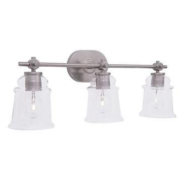 allen + roth Winsbrell 3-Light 23.98-in Brushed Nickel Bell Vanity Light