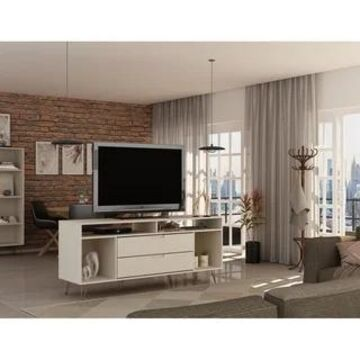 Rockefeller 62.99 TV Stand with Metal Legs and 2 Drawers by Manhattan Comfort (Off White)