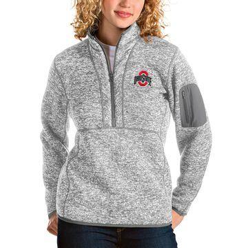 Women's Antigua Heather Gray Ohio State Buckeyes Fortune Half-Zip Pullover Jacket