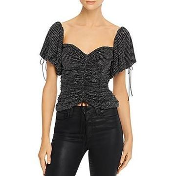 For Love & Lemons Ava Ruched Glitter Top