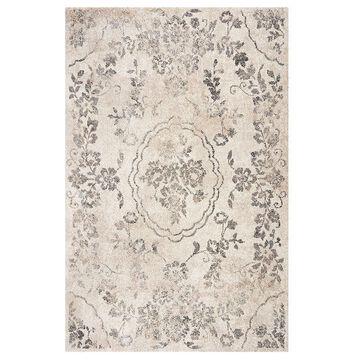 KAS Rugs Hue Elegant Floral Rug, Grey, 5X7.5 Ft